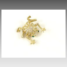 Vintage Figural Frog & Rhinestone Brooch Pin Signed