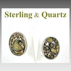 Vintage Sterling Silver & Quartz Pierced Earrings