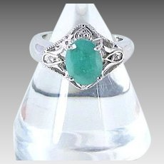 Vintage Emerald and Sterling Silver Ring Size 7.5