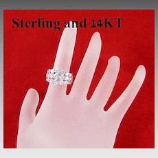 Dazzling Sterling Silver 14Kt Gold & Rhinestones Ring Size 7.5