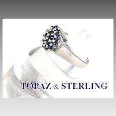 Modernist Blue Topaz Sterling Silver Ring Size 6.5