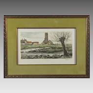 Beautiful Pastoral Etching S/N by the Artist