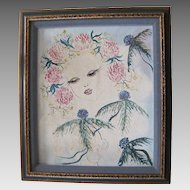 Lovely Vintage Mixed Media Painting By French Artist Beauchesne