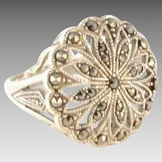 Huge Sterling Silver Marcasite Flower Ring Size 9