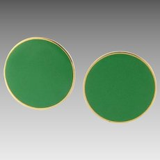 Vintage Large Monet Green Enamel Clip Earrings