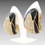 Designer Ciner Rhinestone Black Enamel Clip Earrings