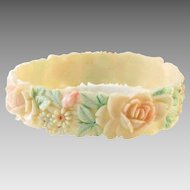 Celluloid Bangle Bracelet & Hand Painted Flowers