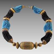 Vintage Ethnic Tribal Blue & Black Glass Copper Necklace