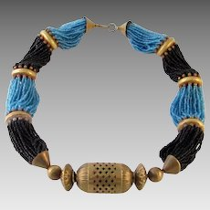 Vintage Ethnic Tribal Blue & Black Glass Copper Necklace