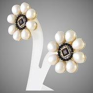 Vintage Runway Signed Craft Teardrop Faux Pearl Clip Earrings
