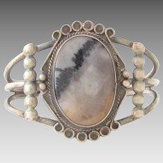 Vintage Native American Petrified Wood Agate Sterling Cuff Bracelet