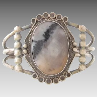 Vintage Native American Petrified Wood Agate Sterling Cuff Bracelet