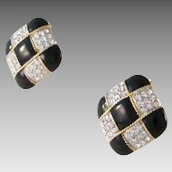 Large Black Enamel & Rhinestones Keyes Clip Earrings