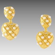 Large Vintage Faux Pearls Dangle Heart Clip Earrings