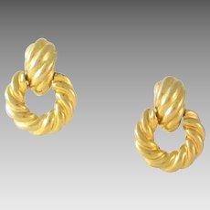 Vintage KJL Gold Tone Door Knocker Clip Earrings