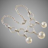 Bold Vintage Silver Tone Disco Balls Necklace