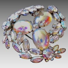 Sherman Large Crystal AB Trembler Brooch Pin