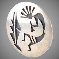 Vintage Signed Hopi Kokopelli Sterling Silver Brooch Pin