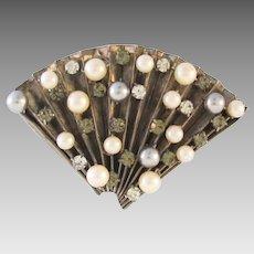 Large Vintage Fan Brooch Rhinestones and Faux Pearl