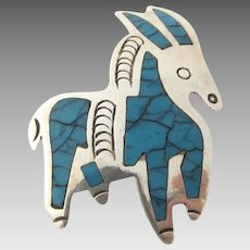 Vintage Taxco Mexico Sterling Turquoise Donkey Brooch