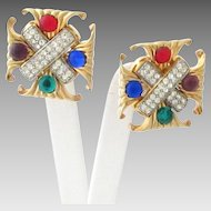 Vintage Maltese Cross Earrings with Rhinestones