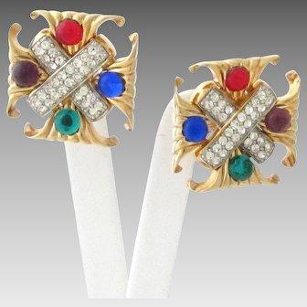 Vintage Maltese Cross Earrings with Rhinestones