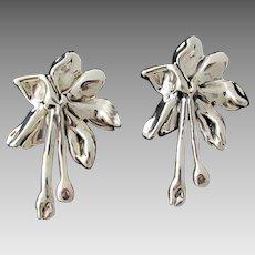 Huge Vintage Sterling Silver Puffy Hollow Clip Earrings