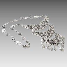 Bold Vintage Silver Tone Bib Necklace
