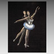 Superb Vintage Painting on Velvet of a Couple Ballet Dancing