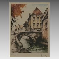 Wonderful Etching of Bruges signed by the Artist