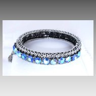 Gorgeous Hinged Bracelet with Blue AB