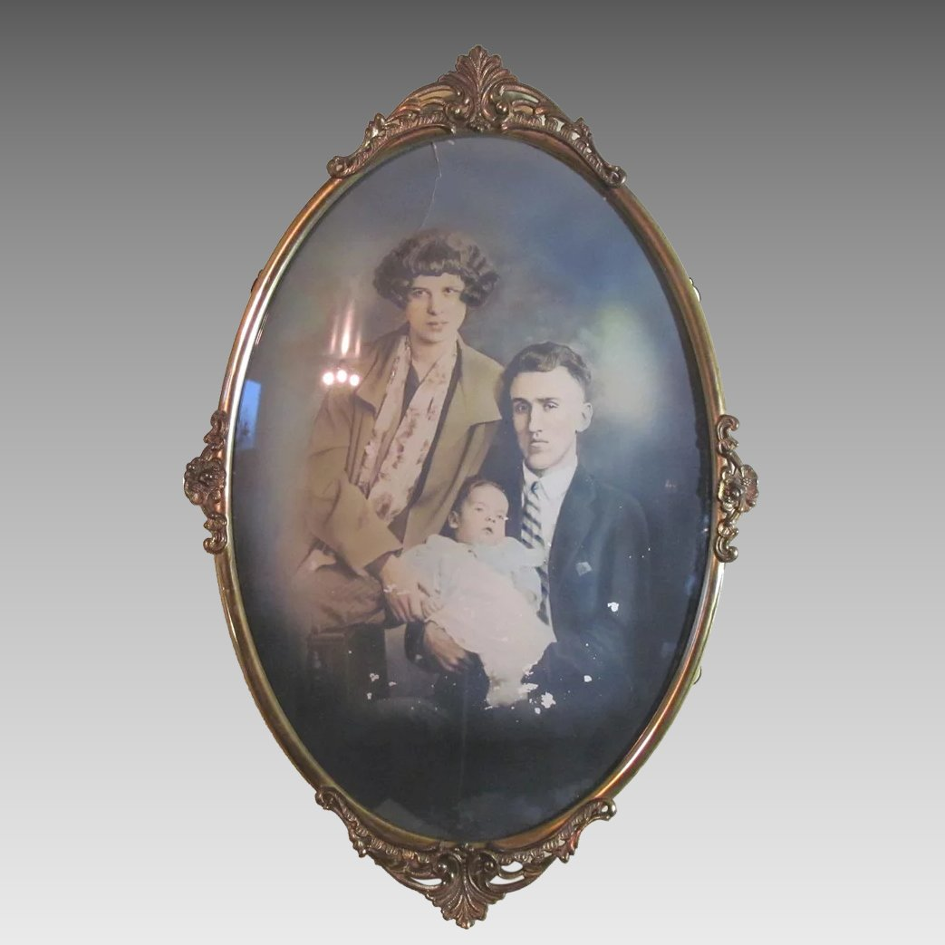 Antique convex bubble glass in a lovely metal frame cameleon click to expand jeuxipadfo Images