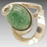 Large Modernist Taxco Sterling Aventurine ring size 6