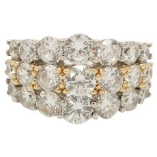Dazzling 14Kt Gold Sterling Silver & CZ Ring Size 7.5
