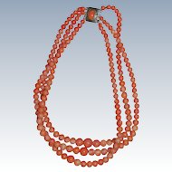 Antique Three Strand Coral Necklace