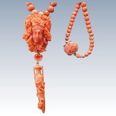 Antique Coral Bacchus Pendant Necklace With Coral Drop & Carved Coral Clasp