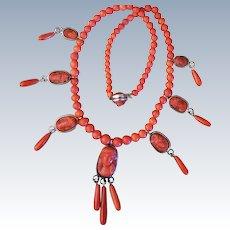 Victorian Coral Cameo Drop Necklace