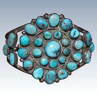 Navajo Cluster Bracelet With Morenci Turquoise