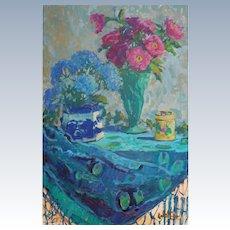 Zinnias With Flow Blue Vase Painting by Rachel Uchizono