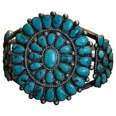 1950's Blue Gem Turquoise Cluster Bracelet