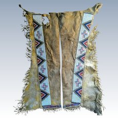 Jicarilla Apache Beaded Leggings 1870