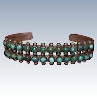 Zuni Snake Eyes Turquoise Row Bracelet
