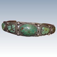 Early Navajo Five Band Battle Mountain Turquoise Bracelet