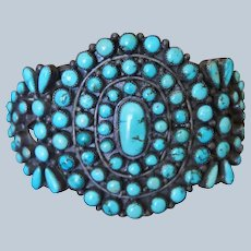 1940's Zuni Turquoise Cluster Bracelet