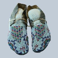 Early Southern Cheyenne Mens Moccasins 1880's