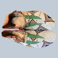 1917's Fully Beaded Lakota Sioux Ceremonial Moccasins