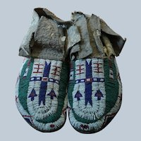 Early Arapaho Men's Moccasins 1880's