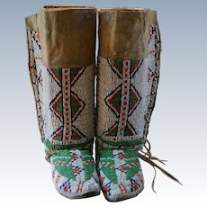 Early 1900's Lakota Women's Moccasins and Leggings with Silver Buttons