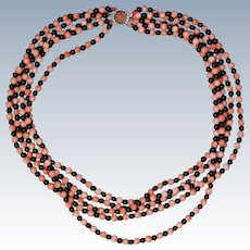 Angel Skin Coral And Black Onyx Necklace