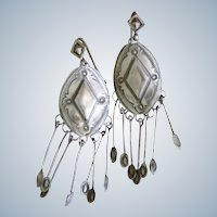 Navajo Stamped And Repoussed Earrings With Dangles